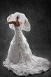 Bride in wedding dress, back view