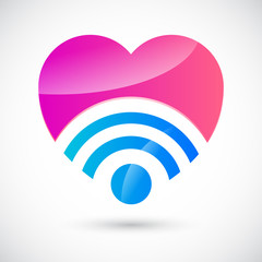Wi-fi symbol with heart