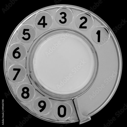 Black and white retro telephone dial