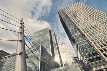 panorama of skyliline buildings in Canary Wharf