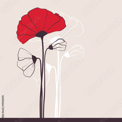 Floral invitation with poppies