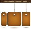 Leather price tag collection 3/3. Isolated on white.