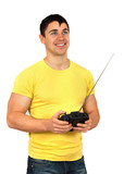 Man with radio remote control