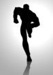 Silhouette illustration of a muscular male figure running