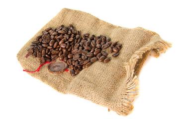 burlap bag with cofee bean