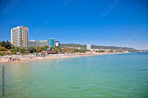 Panoramic view on Varna beach in Bulgaria.