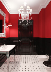 Luxury bathroom in red and black colors