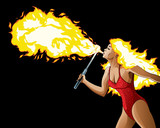 Fire Breather with fire hair