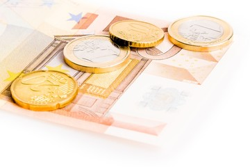 money euro coins and banknote