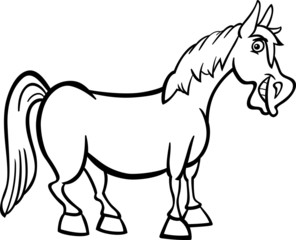 farm horse cartoon for coloring book