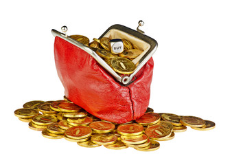 Open old red purse with gold coins and the dicing cube with the