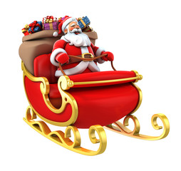 Santa Claus on sleigh with presents