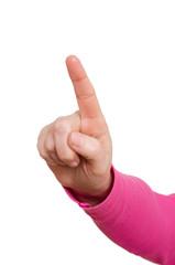 Weibliche Hand mit gestreckten Zeigefinger