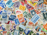 different stamps as a background