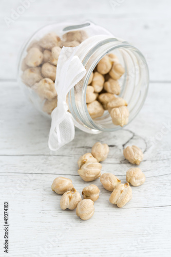 Chickpeas on a wooden background