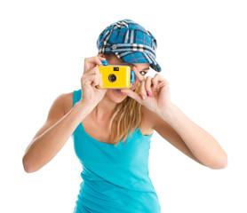 Endlich Urlaub - Frau schießt Urlaubsfotos