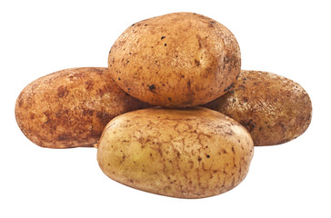 Raw unpeeled potatoes