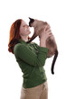happy young woman with cat