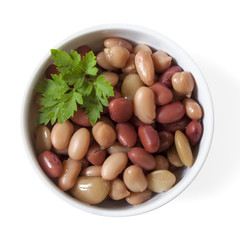 Three Bean Mix in Bowl Isolated