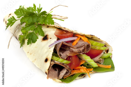Beef Wrap Sandwich Isolated