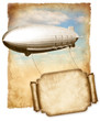 ������, ������: Airship flying banner for text over old paper vintage graphic