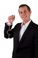 happy arrested busniessman