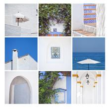 Niebieski biały Hiszpania woda architektura