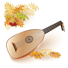 Baroque era lute. Isolated on autumn background