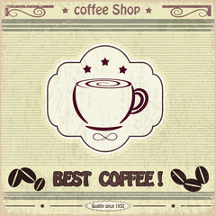 Vintage label coffee shop