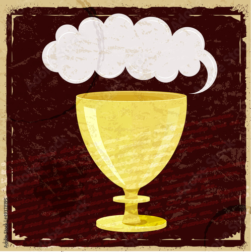 Cartoon cup on vintage paper background