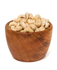 cashew nuts in a wooden bowl