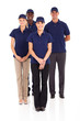 group of delivery service staff full length portrait on white