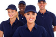 group of service industry staff closeup on white