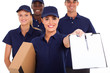 group of professional courier service staff with parcel