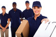 pretty delivery girl and team on white background