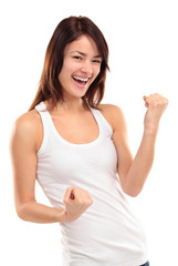 Winning success woman happy ecstatic celebrating being a winner