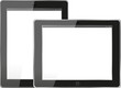 Tablet computer. Black frame tablet pc with screen. isolated