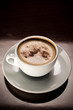 White porcelain cup od cappuccino coffee
