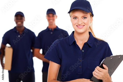 professional delivery service staff studio portrait