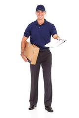 delivery man carrying a parcel and presenting receiving form