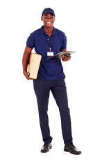 african american delivery guy with parcel and clipboard on white