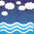 Océan, ciel et nuages