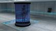 Esqueleto en agua. Escenario futurista
