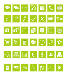 Set de iconos para la Web en color verde