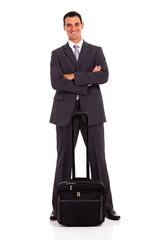 smart business traveller full length portrait on white