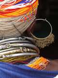 Detail, large necklaces and earrings of a Bonda tribal woman,