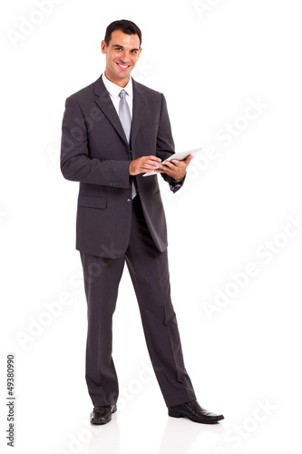 handsome businessman with tablet computer isolated on white