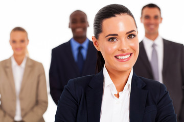 pretty businesswoman and team on white background
