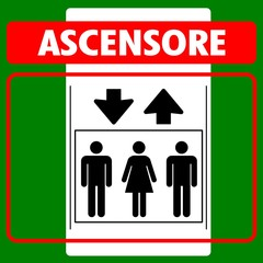 CARTELLO INDICATORE ASCENSORE IN ITALIANO