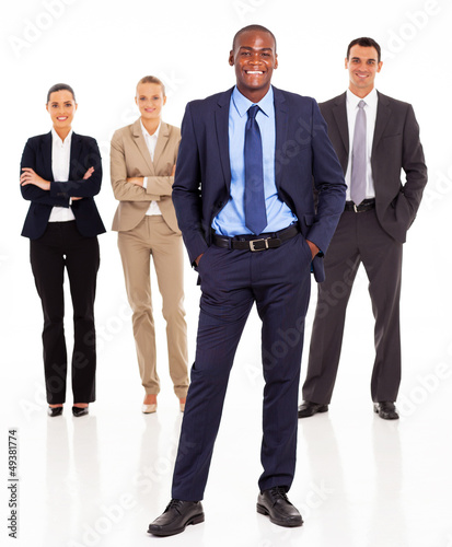 handsome african businessman and team full length on white